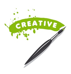 logo brush and green paint vector image