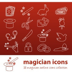 magician outline icons vector image