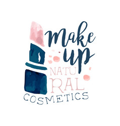 make up natural cosmetic logo label for beauty vector image