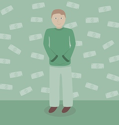 Man with dollars money vector image