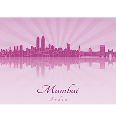 Mumbai skyline in purple radiant orchid vector