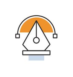 Orange pen tool icon vector