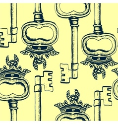 Seamless pattern with antique hand-drawn keys vector image