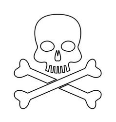 Skull bones danger poison laboratory line vector
