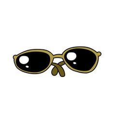 sunglasses cartoon hand drawn image vector image