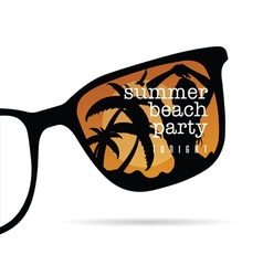 Sunglasses with summer beach party with girl vector