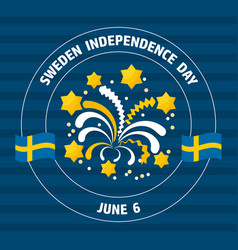 sweden independence day label on blue vect vector image vector image