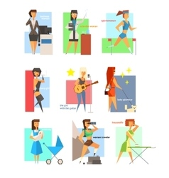 Women Lifestyle in Flat Style vector image