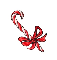 Christmas candy cane with red bow vector