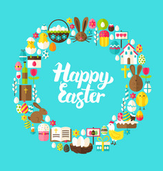 Happy easter flat circle vector