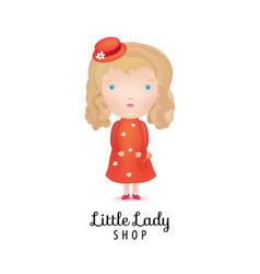 Cute girl kids shop logo vector