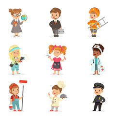 set of cartoon professions for kids smiling vector image