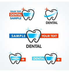 dental tooth symbol sign icons set vector image