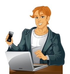 Young men with phone and laptop vector
