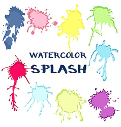 Set watercolor paint splash collection of color vector