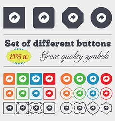 Arrow right next icon sign big set of colorful vector