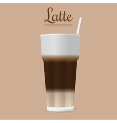 Glass of latte vector