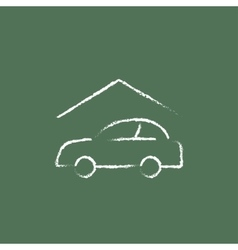 Car garage icon drawn in chalk vector
