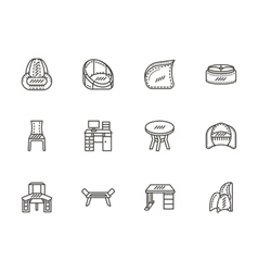 Chairs and tables flat line icons set vector