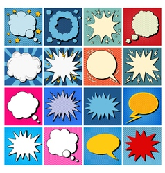 Big set of comics bubbles in pop art style vector