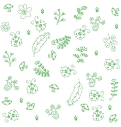Green leaves and insect doodle art vector image