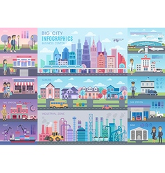 Big city infographic set vector