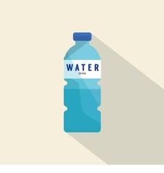Single water plastic bottle flat deign vector