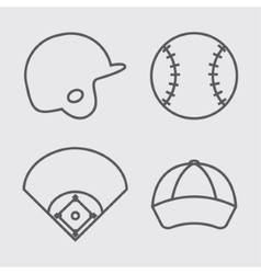 Ball helmet league and cap of baseball sport vector
