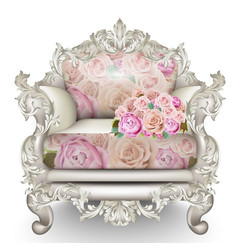 baroque luxury armchair rich furniture carved vector image vector image