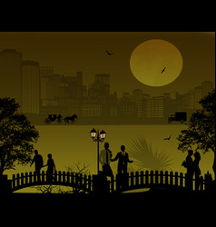Beautiful cityscape and people silhouette vector