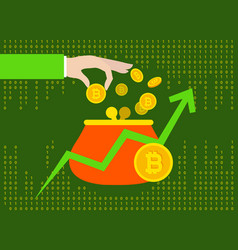 bitcoin cryptocurrency e-wallet with chart and vector image