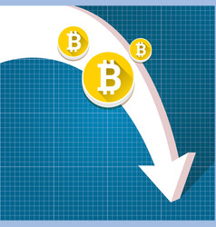 Bitcoin market crash graph on blueprint vector