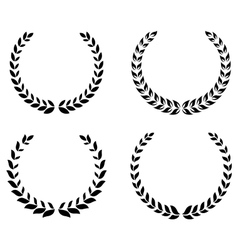 Black laurel wreaths set vector image