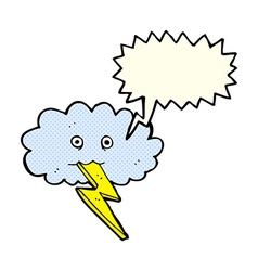 Cartoon lightning bolt and cloud with speech vector