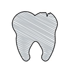 color crayon stripe cartoon tooth with cracks vector image vector image