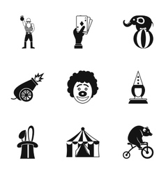 Concert in circus icons set simple style vector
