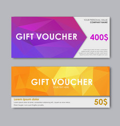Design gift vouchers polygonal vector