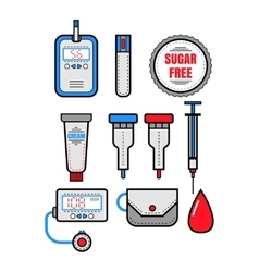 Diabetes Set of flat colored icons Glucometer vector image vector image