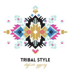 Ethnic design card template geometric tribal vector