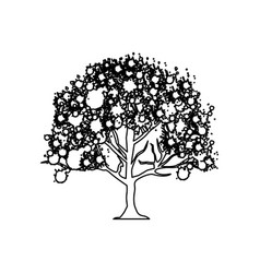 Figure trees with some leaves icon vector