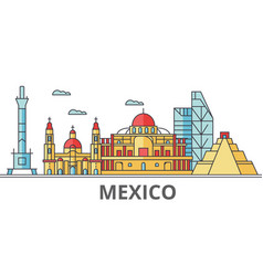 mexico city skyline buildings streets vector image vector image