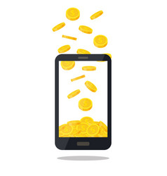 mobile telephone with gold coin pile isolated on vector image vector image