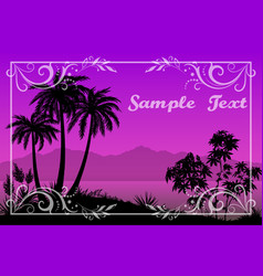 palms floral pattern and sea landscape vector image vector image