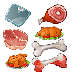 raw meat scales bones cooked pig and chicken vector image vector image