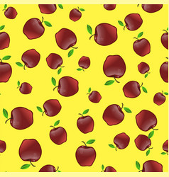 red apples with green leaves seamless pattern vector image