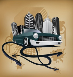 retro city and car poster vector image vector image