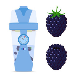 Smart wireless bottle with blackberry berry vector