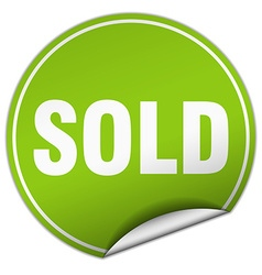 Sold round green sticker isolated on white vector