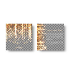 Square background with golden light vector