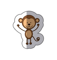 Sticker colorful picture cute monkey animal vector